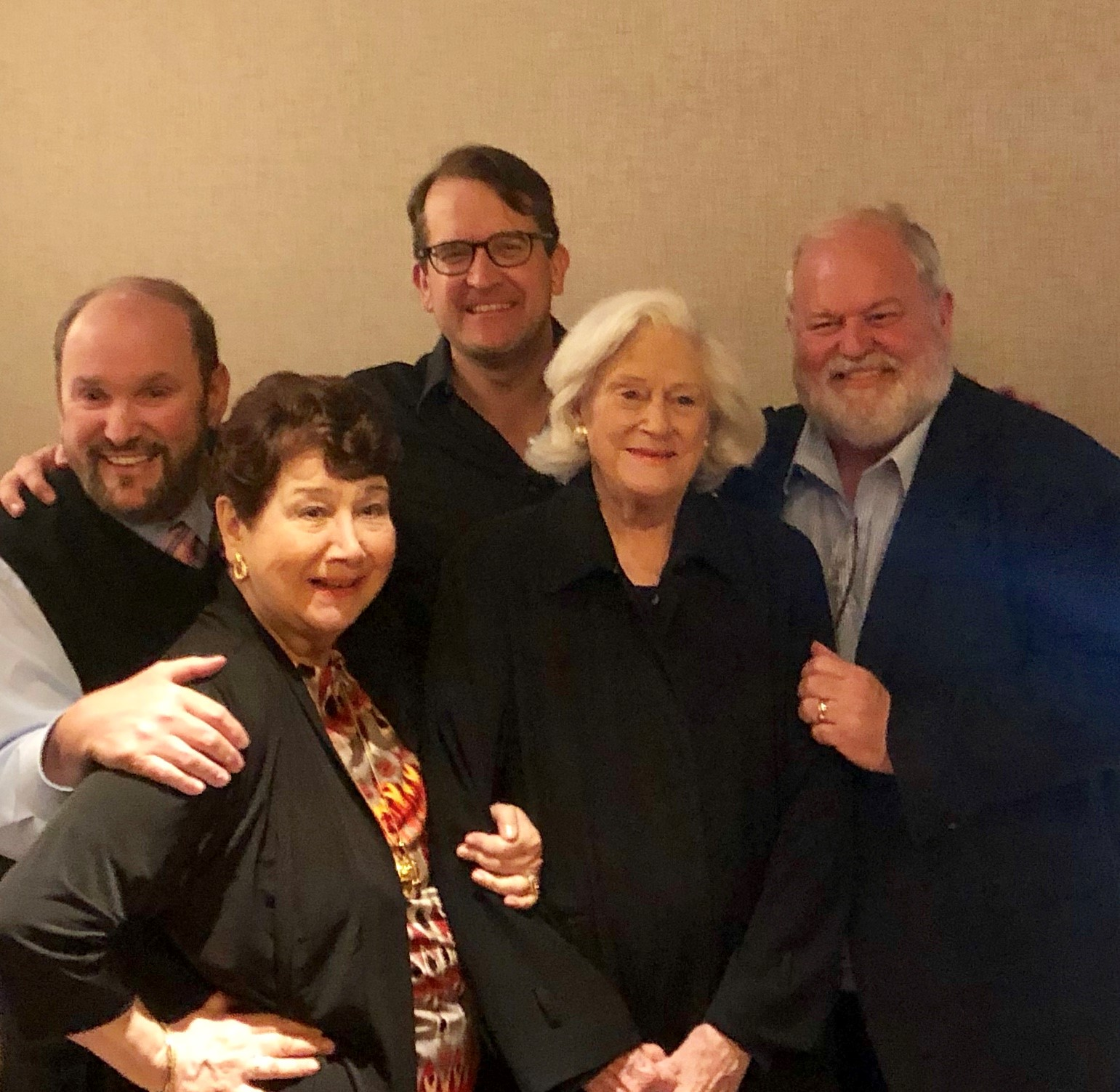 Dominic Massini, Artistic Director; Mary Lou Bilder Gold, past President; James Moye,  Tootsie  cast member; Donna Atwater, co-Founder; and Martin Balogh, President.