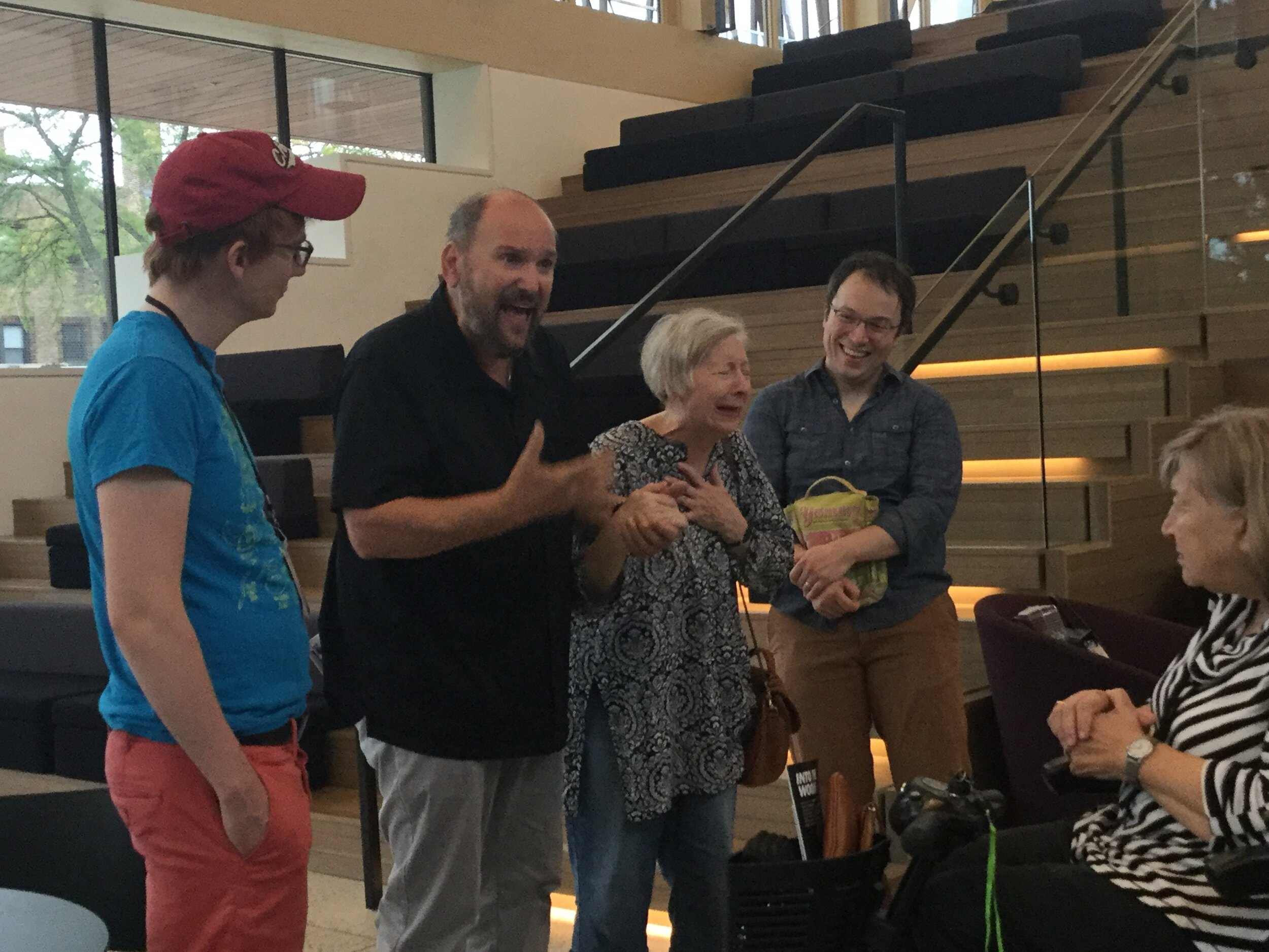 Dominic Missimi leading a talkback with cast members from the incredible Writers Theatre production of  Into The Woods . Left to right Ben Barker (Jack), Dominic Missimi, Mary Poole (Milky White) and Michael Mahler (Baker).