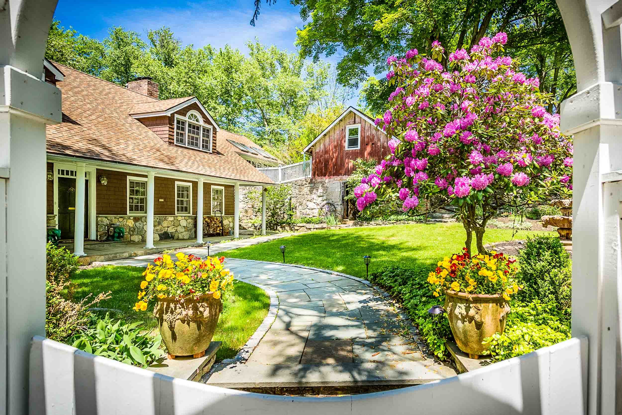 Quaint front yard in home that is for sale in Westchester County NY
