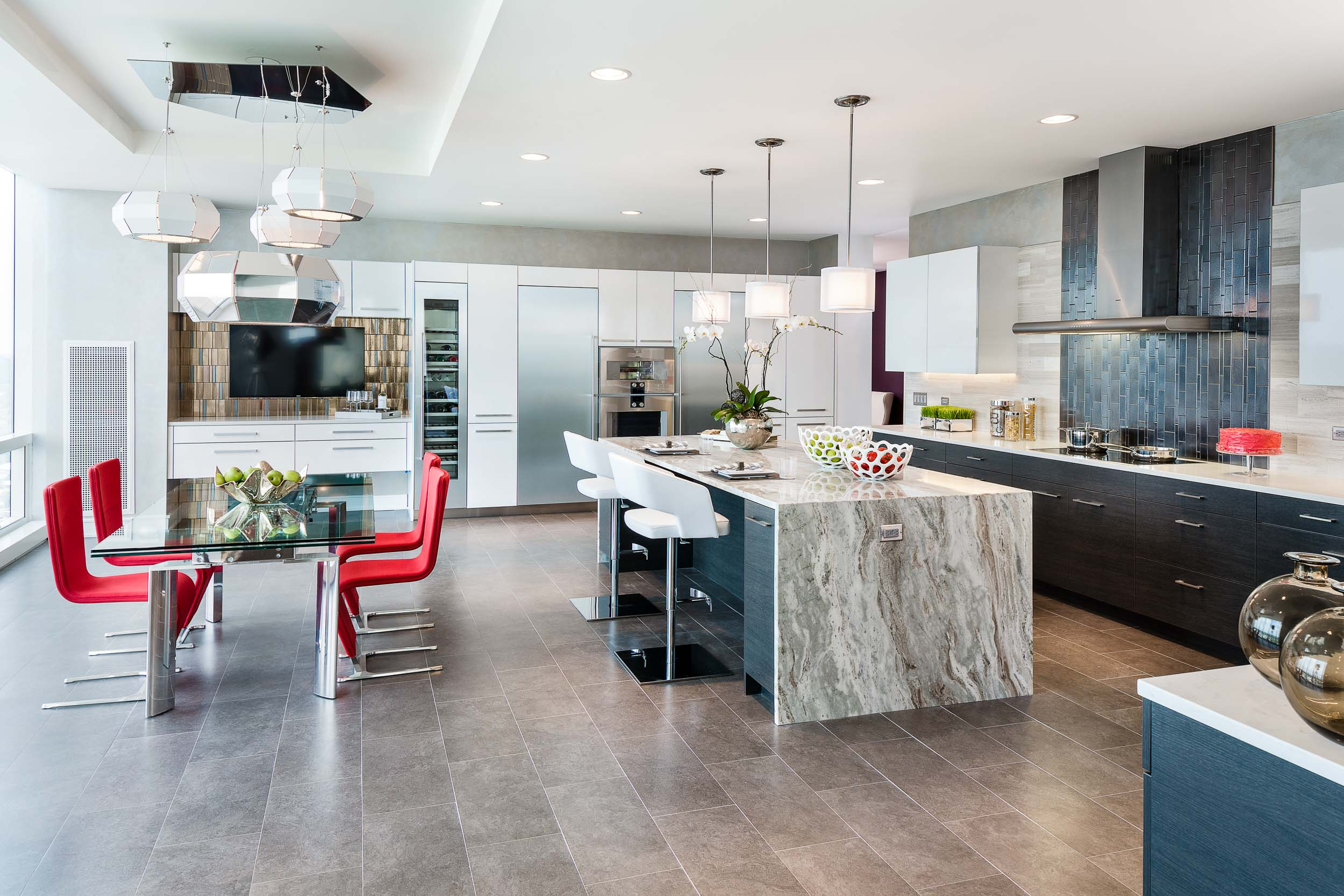 Kitchen in a Luxury Condominium at the Ritz Carlton Residences in Westchester, New York.