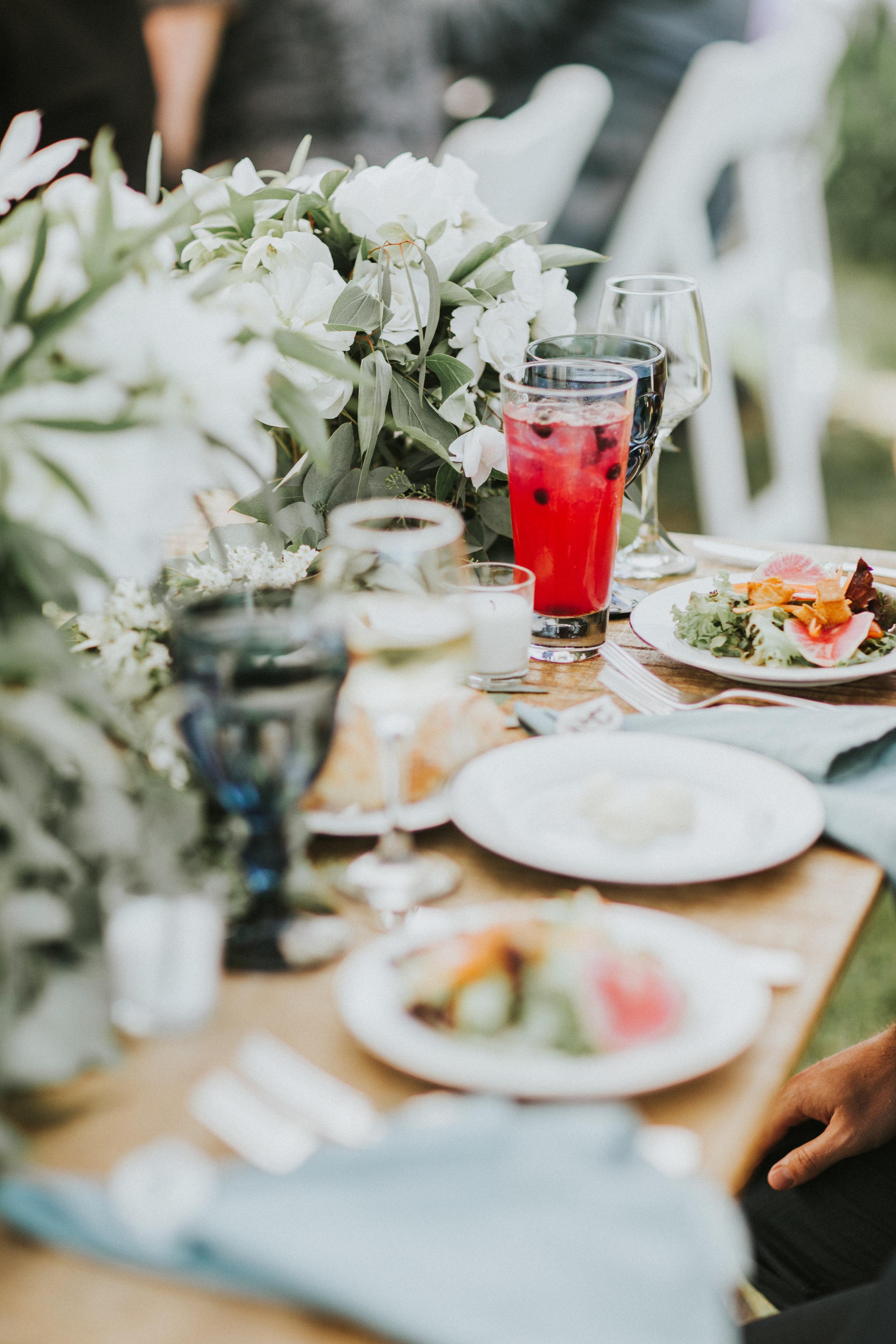 farm table wedding reception natural