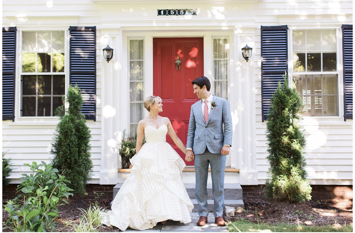 classic preppy maine wedding couple