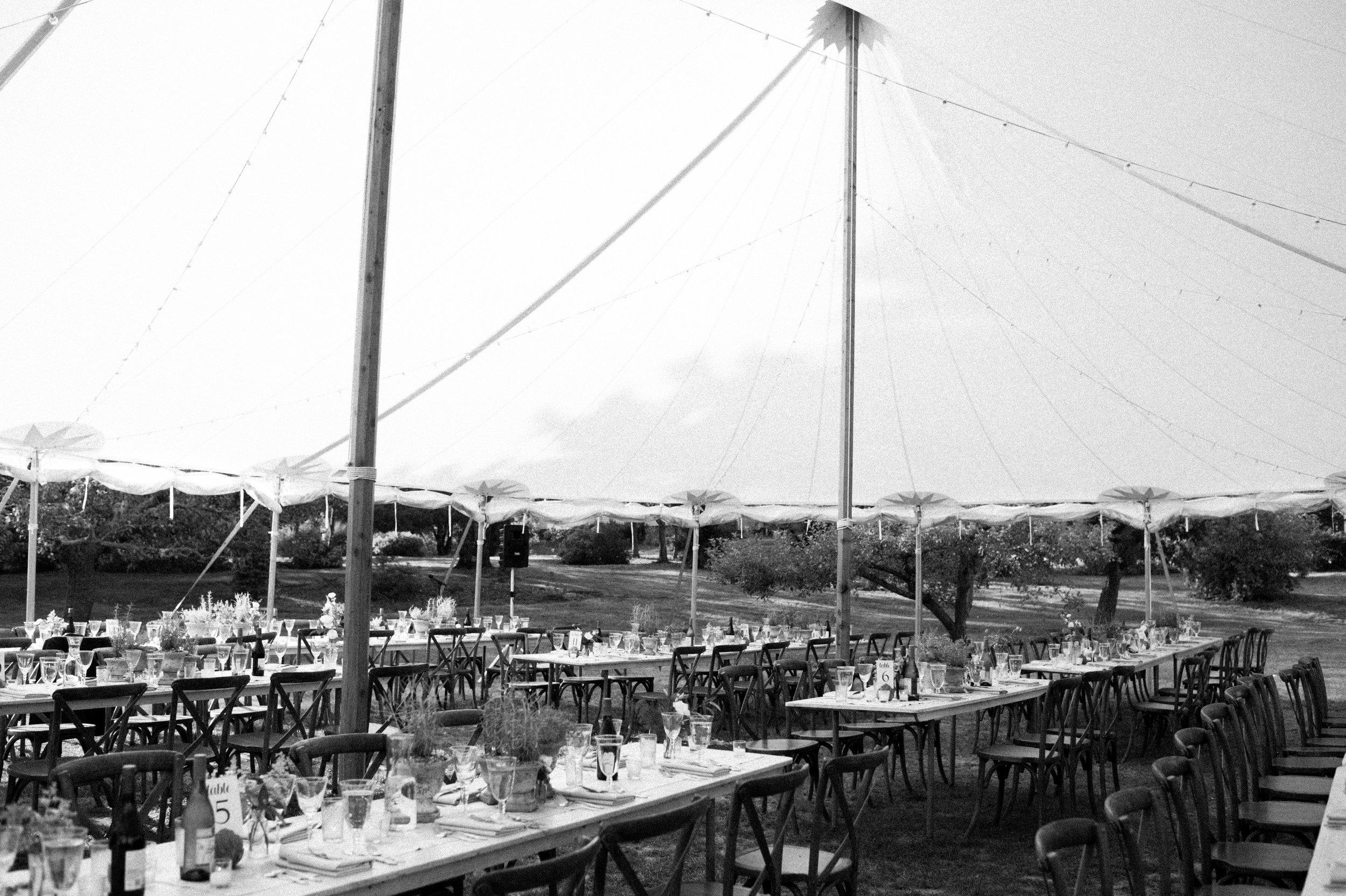 sailcloth tent tuscan reception live well farm maine