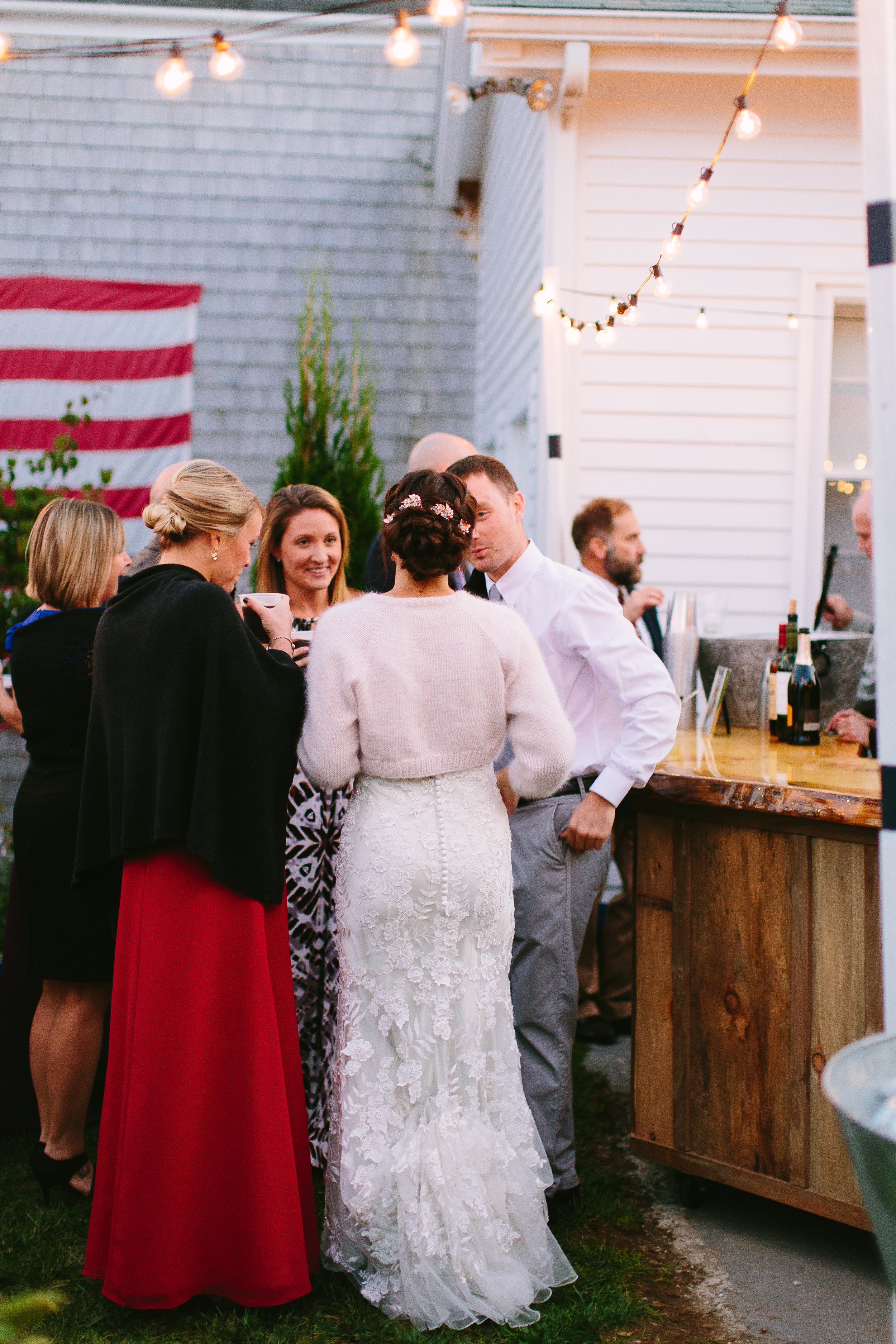 bistro lights pine bar outdoor wedding reception
