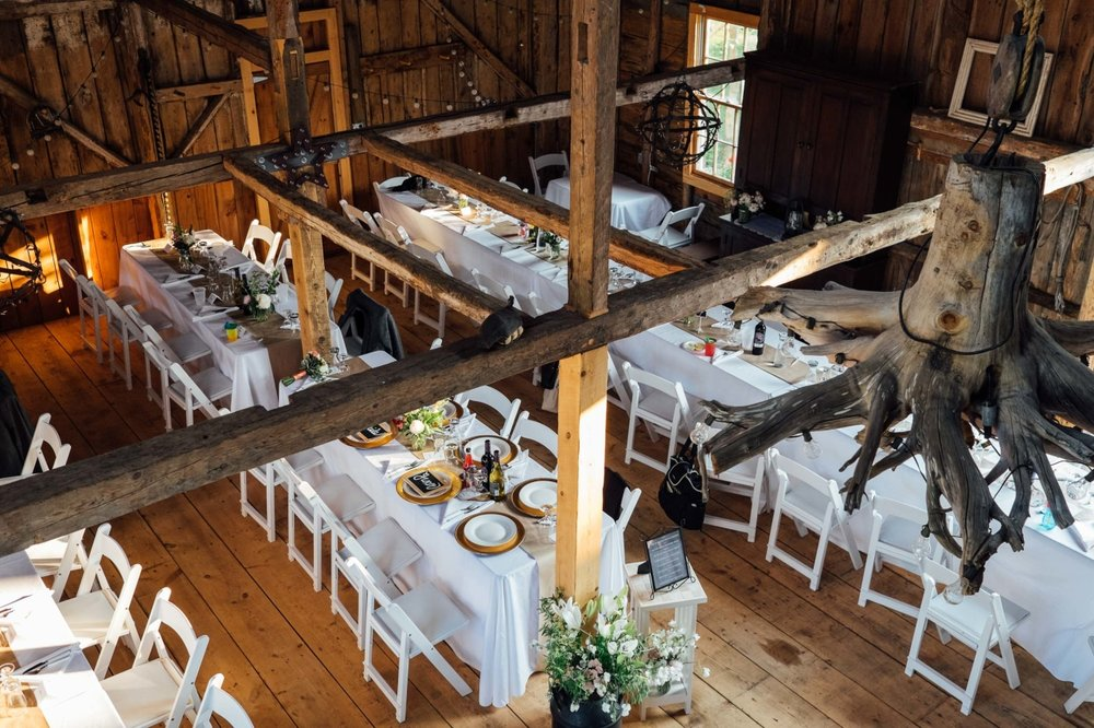 wedding reception dinner in maine barn