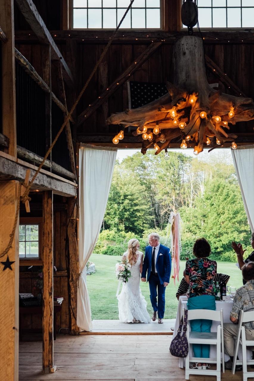 driftwood chandelier in maine wedding barn
