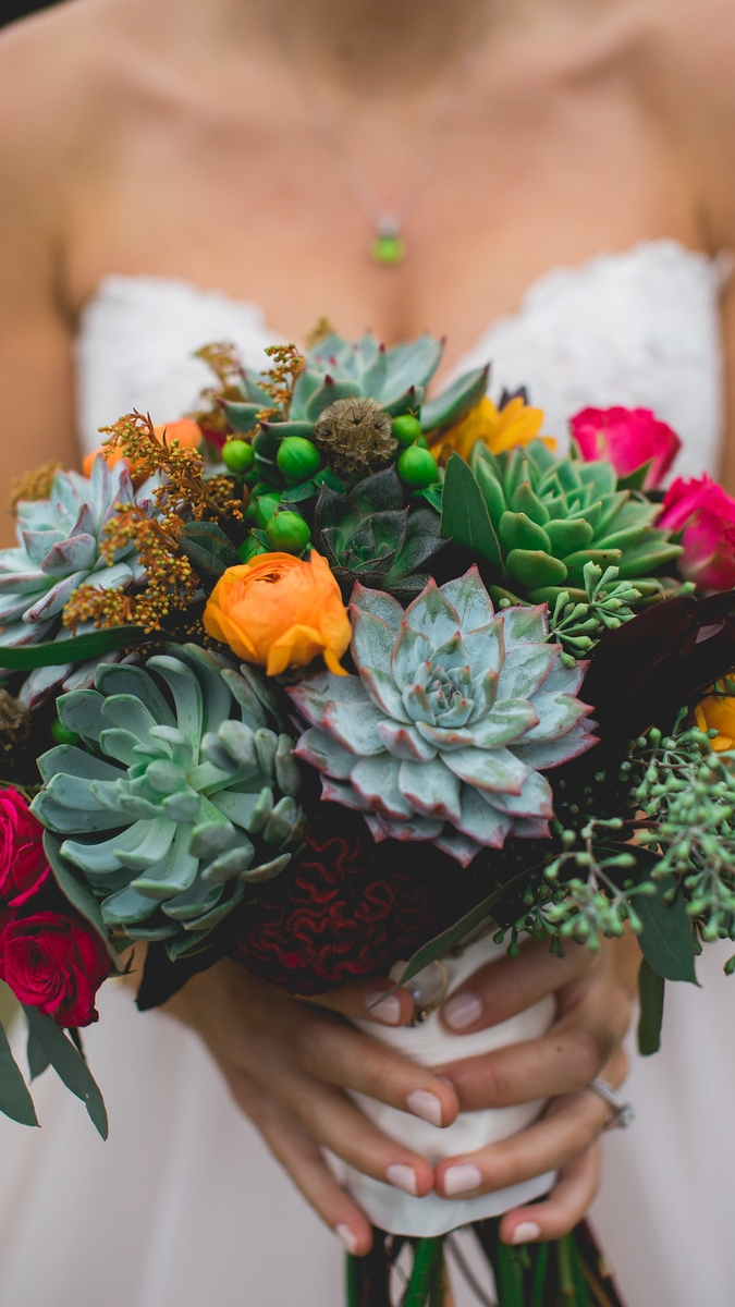 bright wedding bouquet with succulents