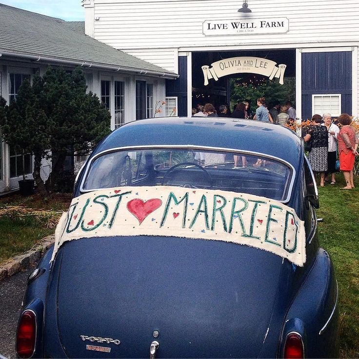 just married vintage car maine