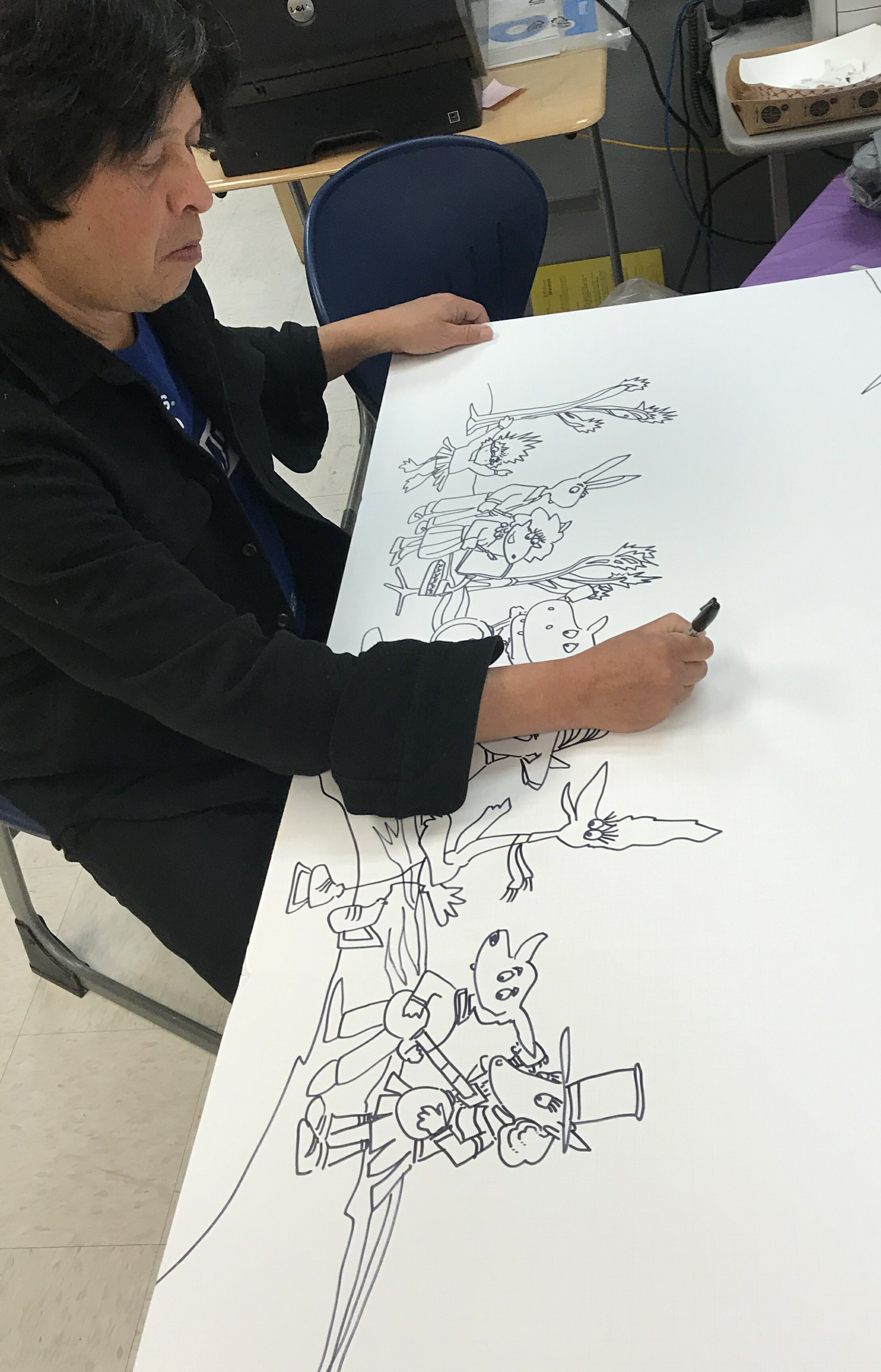 f6e98b76b Paint, brushes, and comic books were all unpacked and Phil soon began to  freehand the mural for us to paint. Right before our eyes he created  mountains, ...