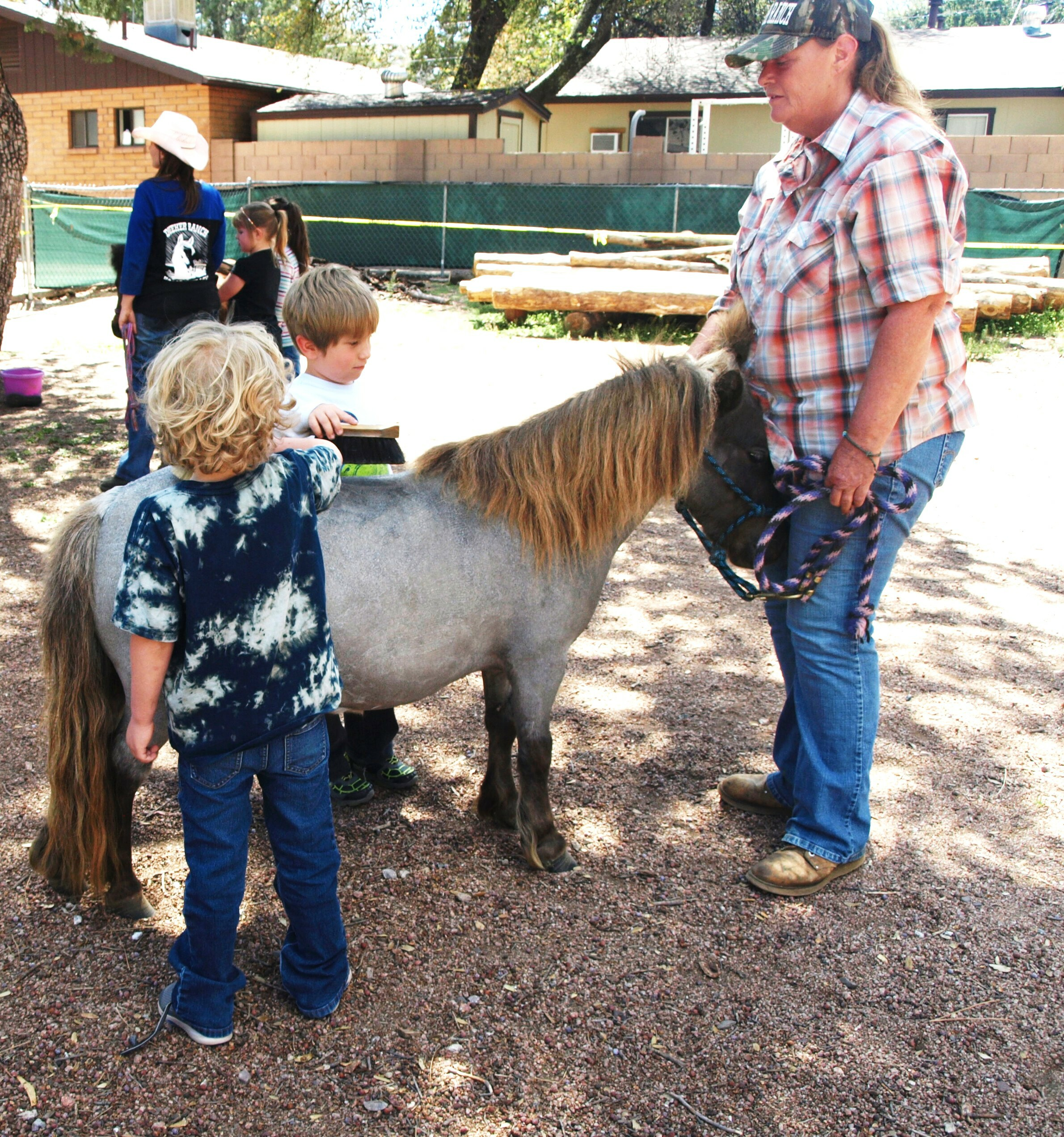5.Boys grooming Gracie, a miniature horse at Payson Community Kids.jpg