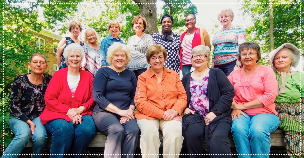 2016 USFWI Board Members  (Front Row Left  to Right) Jan McVay-Peace & Social Concerns, Sarabeth Marcinko-Advocate Editor, Cynthia Steele-Program Editor, Lois Hackney-Adult Missionary Education, Pat Shrock-President/Clerk, Lynn Peery-Mills Clerk JSSC, Marian Baker-Historian  (Second Row Left to Right) Linda Eliason-Recording Clerk/Secretary, Kathi Berry- Children & Youth Mission Education,  Mary Ann McCullen- Literature & Reading Course, Rita Mintmier-Treasurer, Jeniffer Washiali Omwanda-Christian Service,   Maureen Binns-Stewardship,  Etta Florence Winslow-Subscription Manager