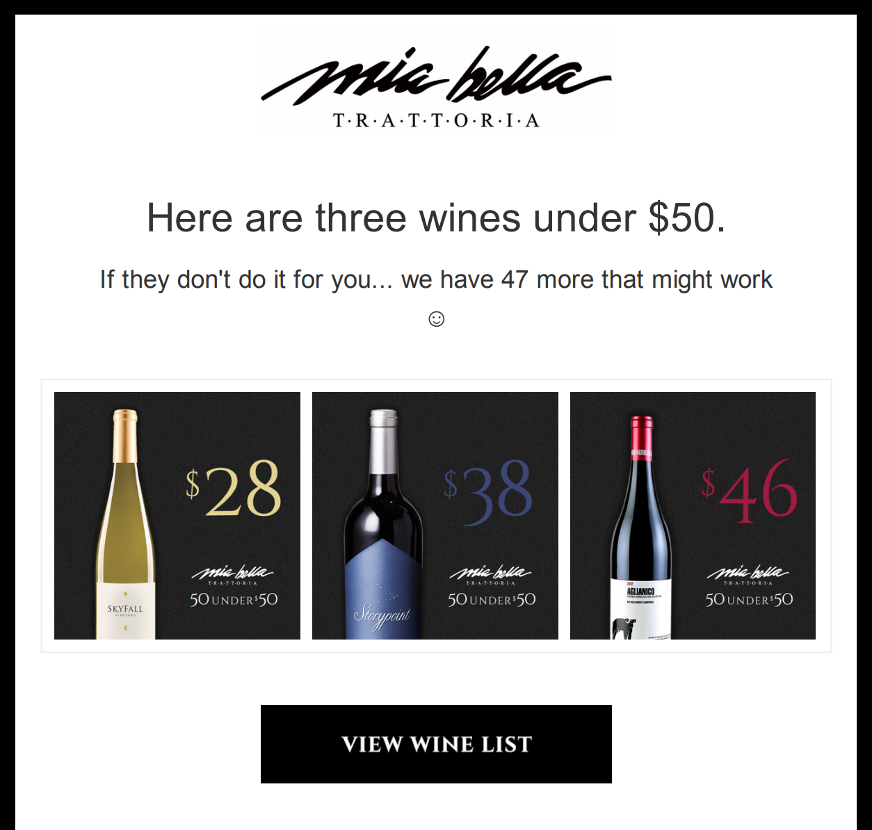 Score: 6.222% Open, 3% Clicks - Mia BellaHere's Three Wines Under $50