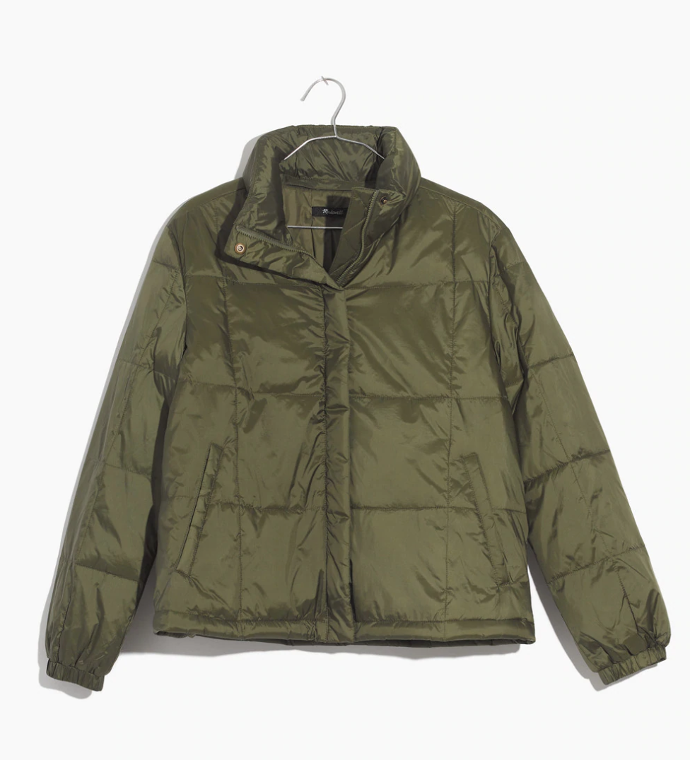 5.  Travel Buddy Packable Puffer Jacket from Madewell  ($128, but it's 25% off right now with code VERYMERRY) I love this jacket so much, I wrote a review and it's on their website: