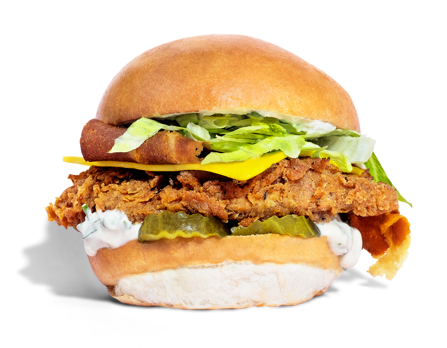 Temple Burger Chick'n Fillet, Ranch Mayo, Bacon, Cheese, Lettuce, Pickles