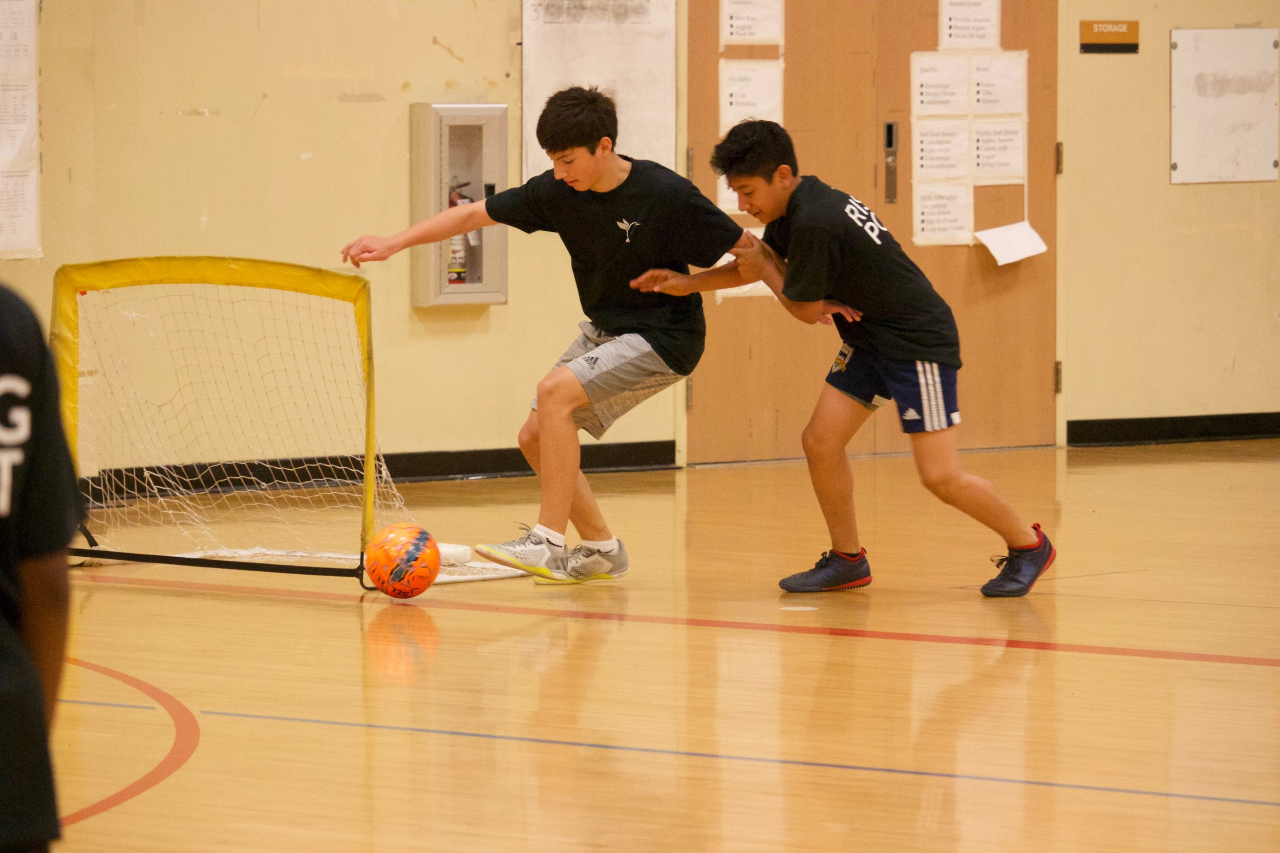 Futsal is a faster paced version of soccer that is played on a hard court using a smaller and heavier ball than the outdoor game. During these sessions, athletes are challenged to make decisions at speed in a fun and competitive environment that is highly conducive to    nurturing awareness, intentionality, and responsiveness (AIR).