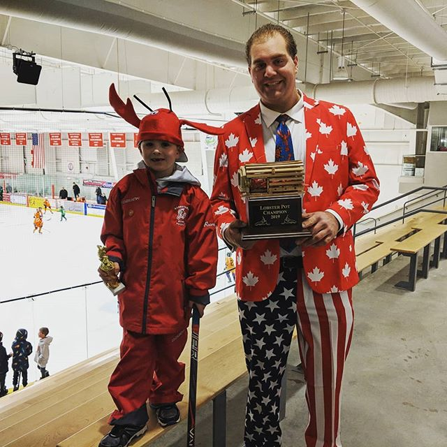Lobster Pot Coaching 101: When you really get into the spirit of the Lobster Pot, you win trophies.  #lobsterpothockey
