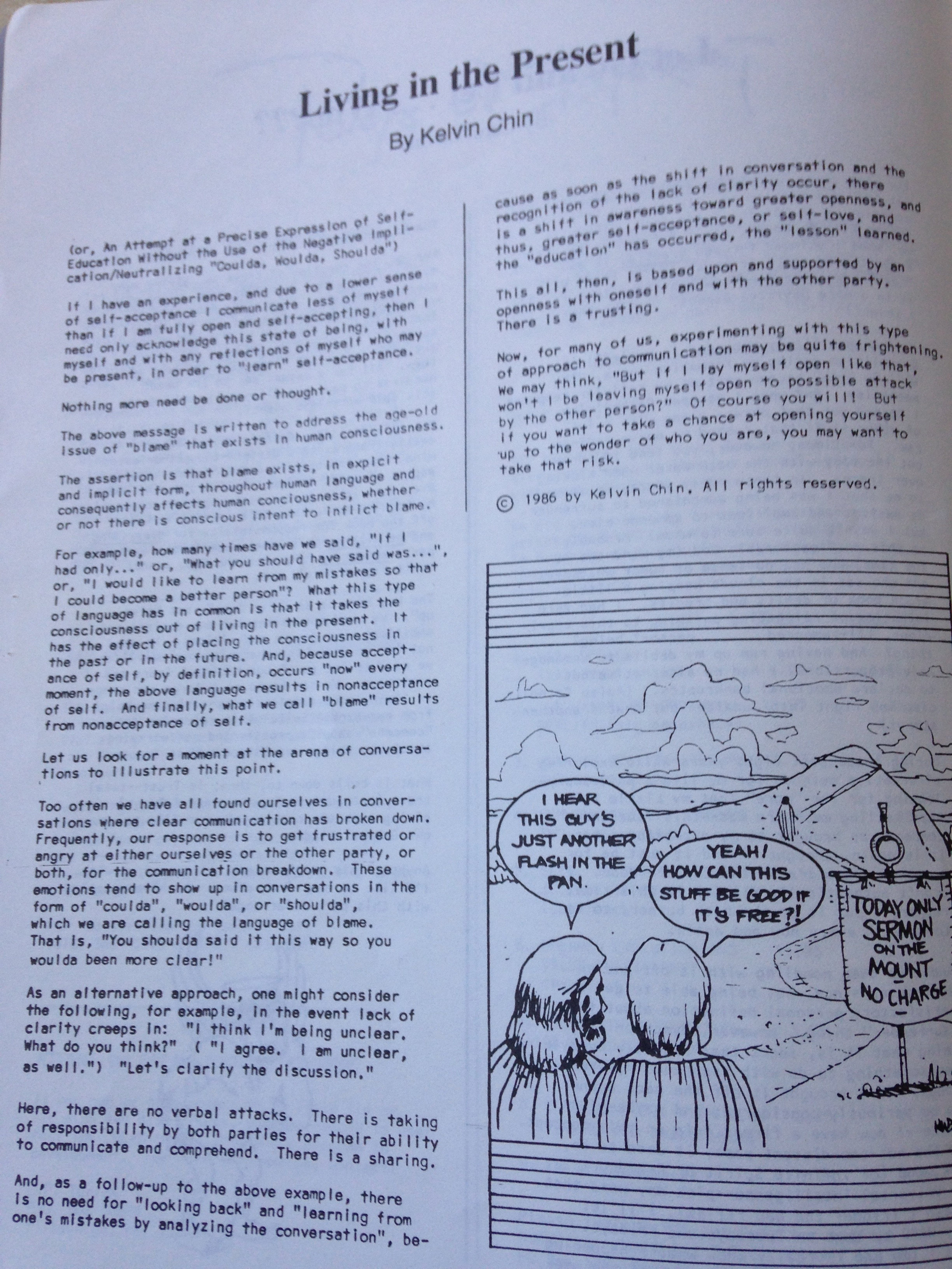 The Coordinate Point , Vol. III No. 3, May-June 1987 [photo of the original publication]