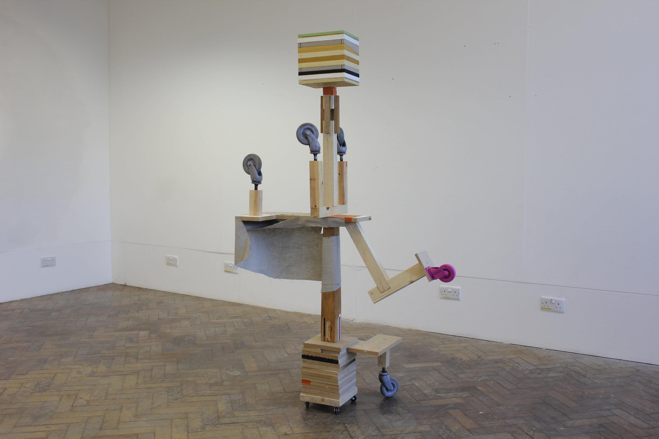 """Amalgamation"" 2017 - Wood, Castor Wheels, Tape & Oil on Linen"