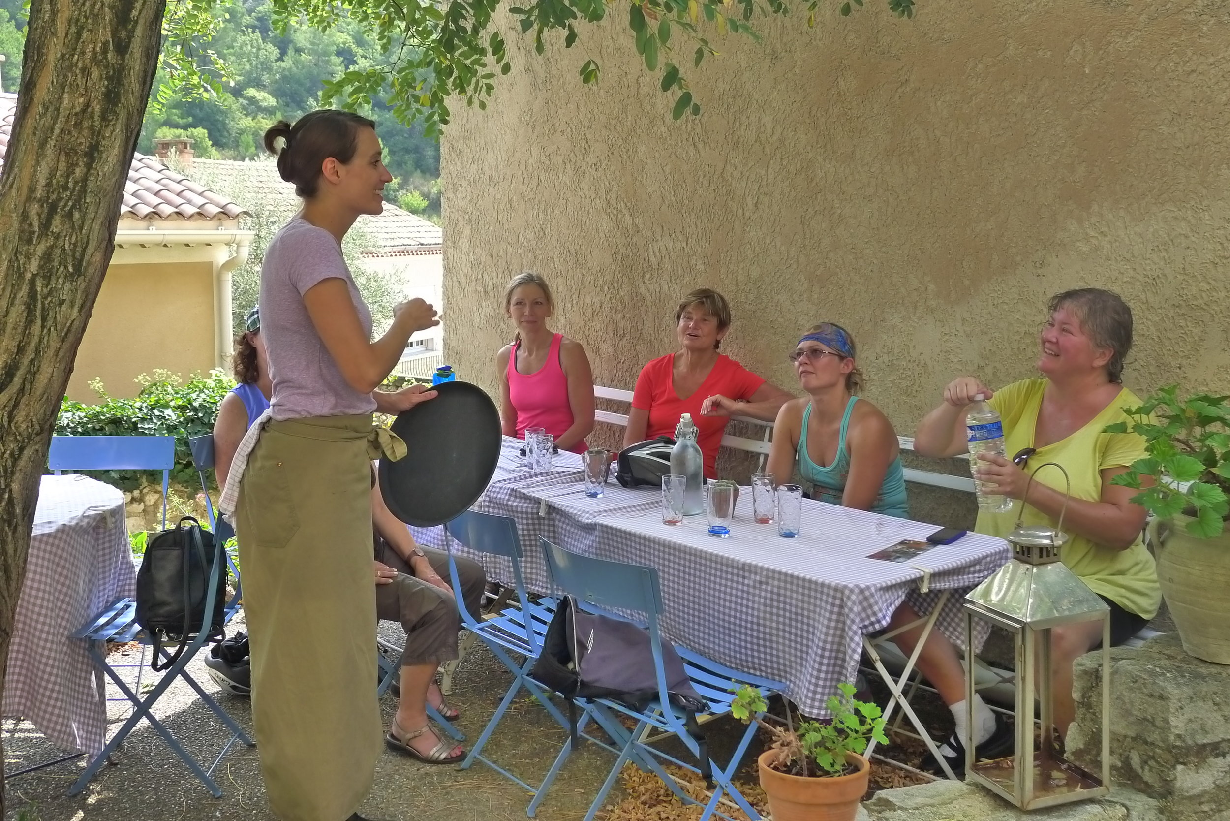 Stopping for refreshments at a village café