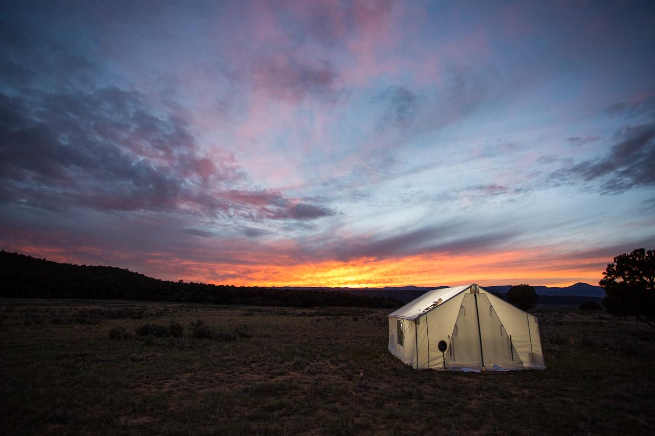 Terra Glamping Wedding- Tent at Sunset