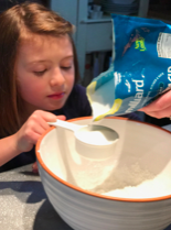 Measure carefully! You can talk about the differences between dry and wet ingredients.