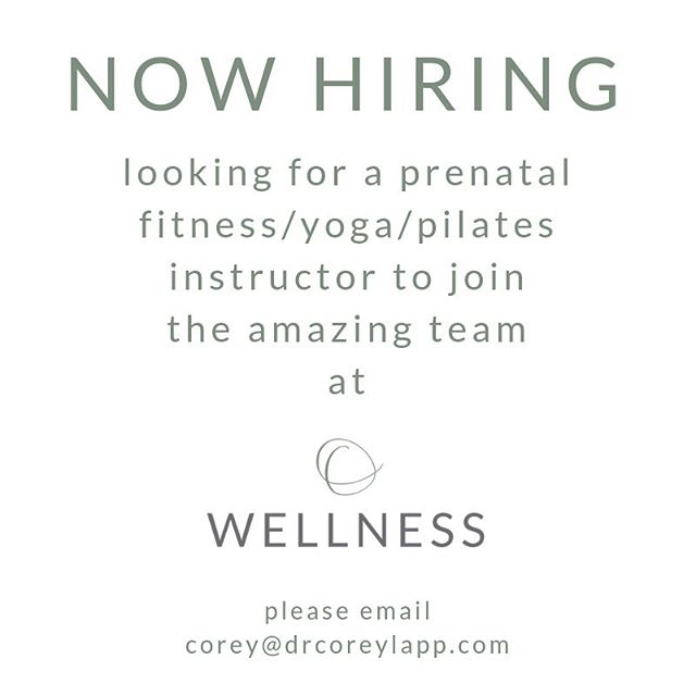 we're looking to expand the class schedule in our beautiful studio at @o.wellness  if you or someone you know is passionate about prenatal fitness and interested in joining an amazing team please email corey@drcoreylapp.com for more information!