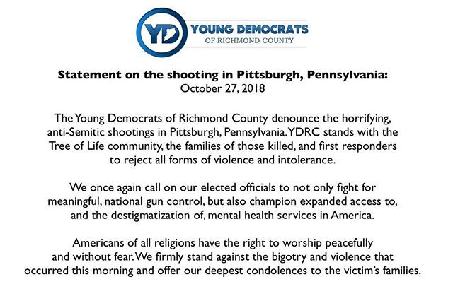 Statement on the shooting today in Pittsburgh, PA. #Enough #VoteForOurLives
