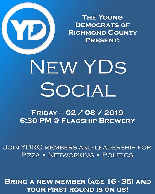 New YDs Mixer  Friday - 02.08.19 @flagshipbrewery @ 6:30PM  PIZZA • NETWORKING • POLITICS  Bring a friend and the first round is on us!