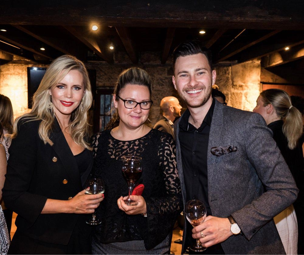Left to right: Sofie Falkiner (Brand Ambassador, Luxury Escapes) and Kelly Webb (Director, Leisure Sales - Australia & New Zealand) Trent Ellen (Partnerships, Luxury Escapes)