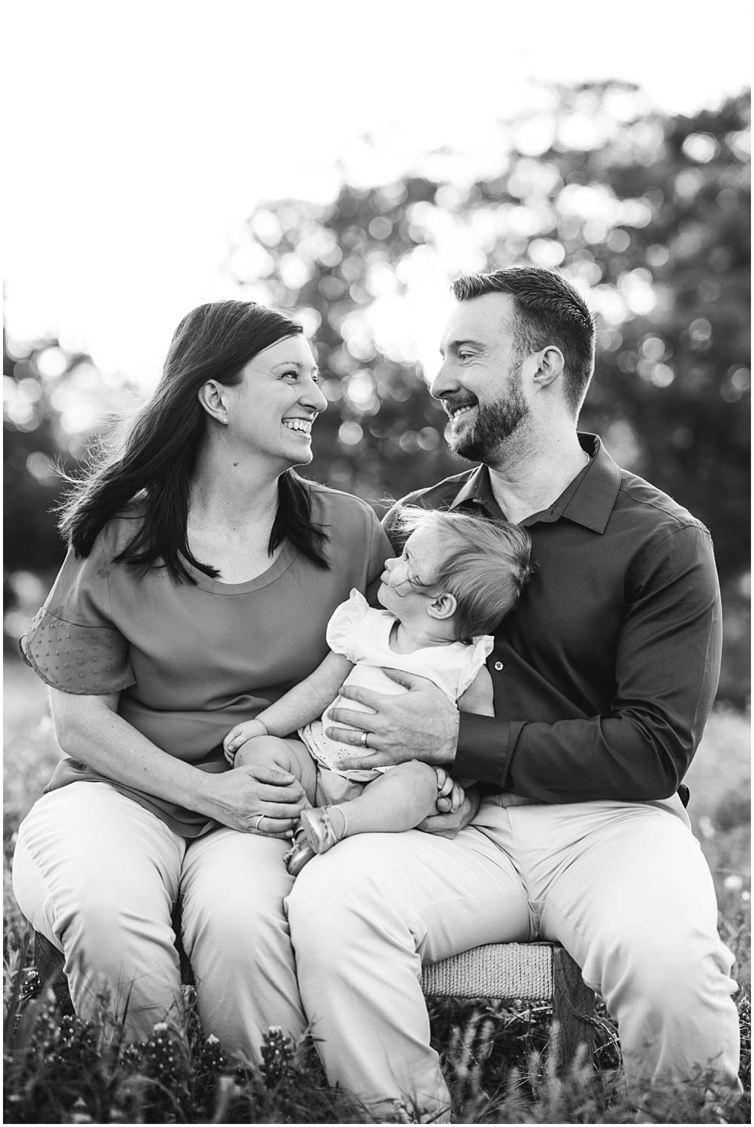black and white family photo during austin sunrise