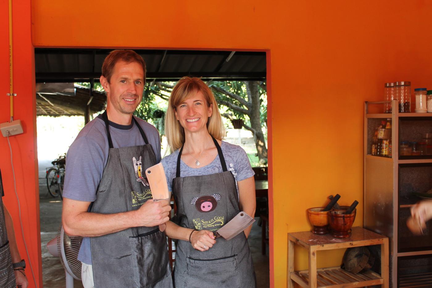 Ryan & Rebecca learning to cook Thai food - November 2012