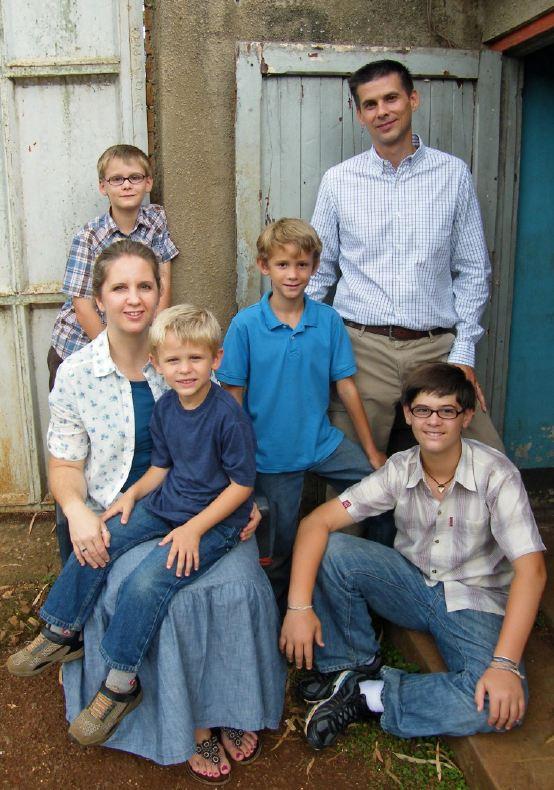 Stephen, Ester & boys - Uganda - July 2012