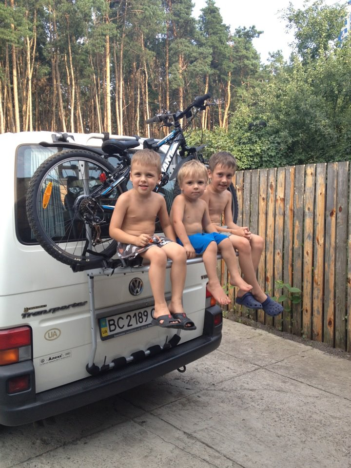 Sasha & Yulia's boys ready to go biking - 2012
