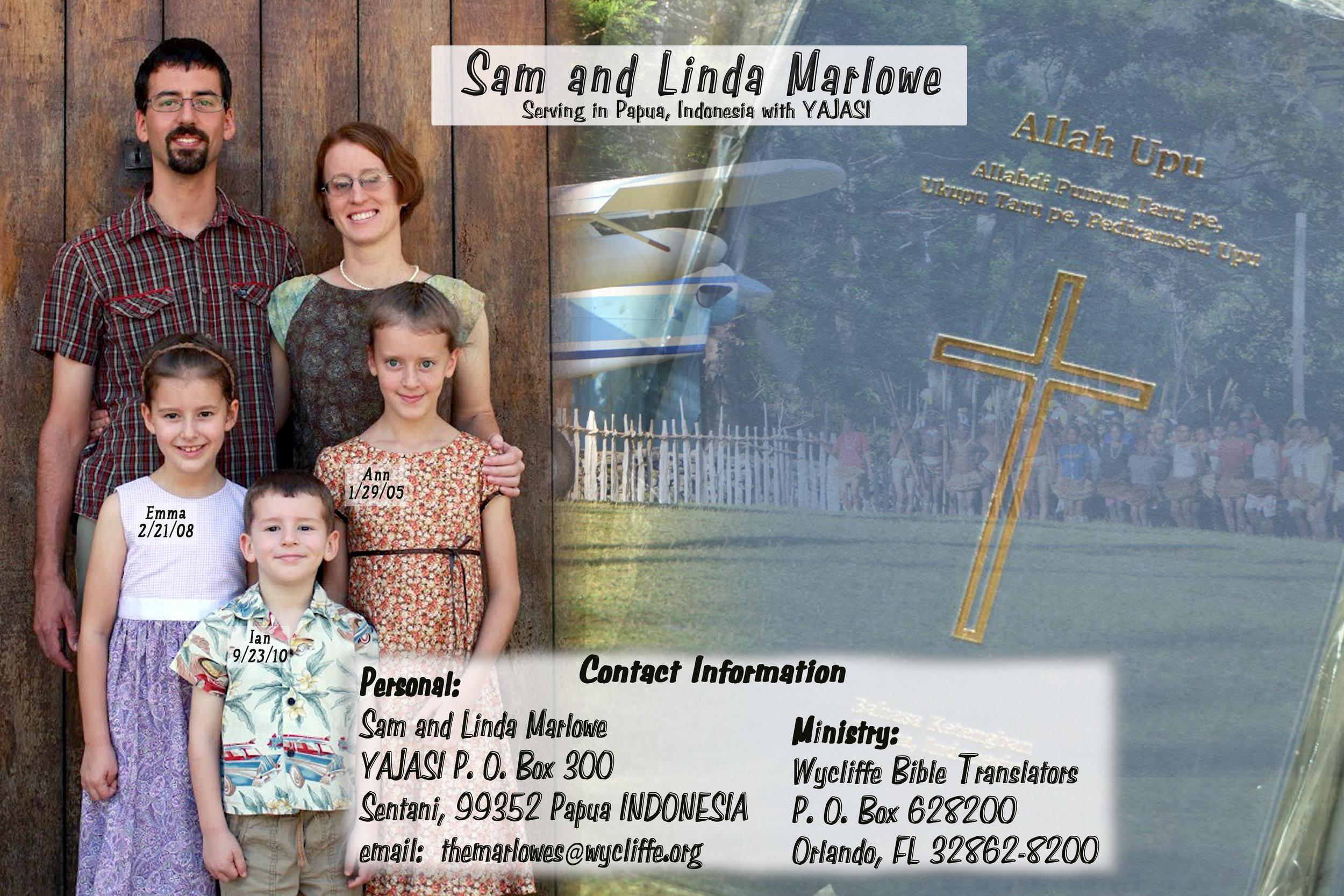 2016 Marlowe prayer card