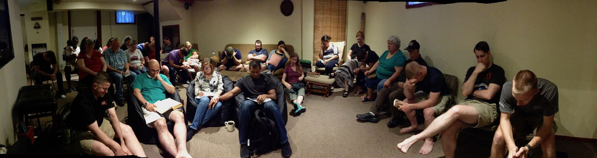 Bible study in the cool of the basement - aug 2017