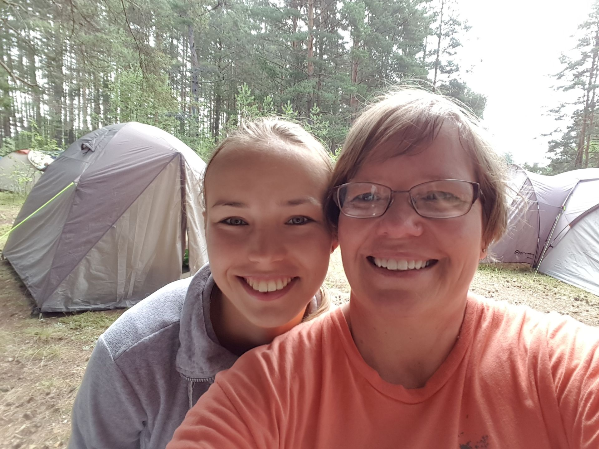 Becky with Russian girl on camp out - Jul 2017