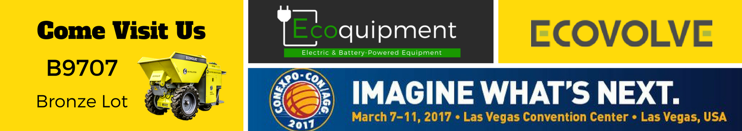 Ecoquipment and Ecovolve are exhibiting at Conexpo-Con/Agg. 2017.Visit us at  B9707 and check out our range of fully electric dump carts.