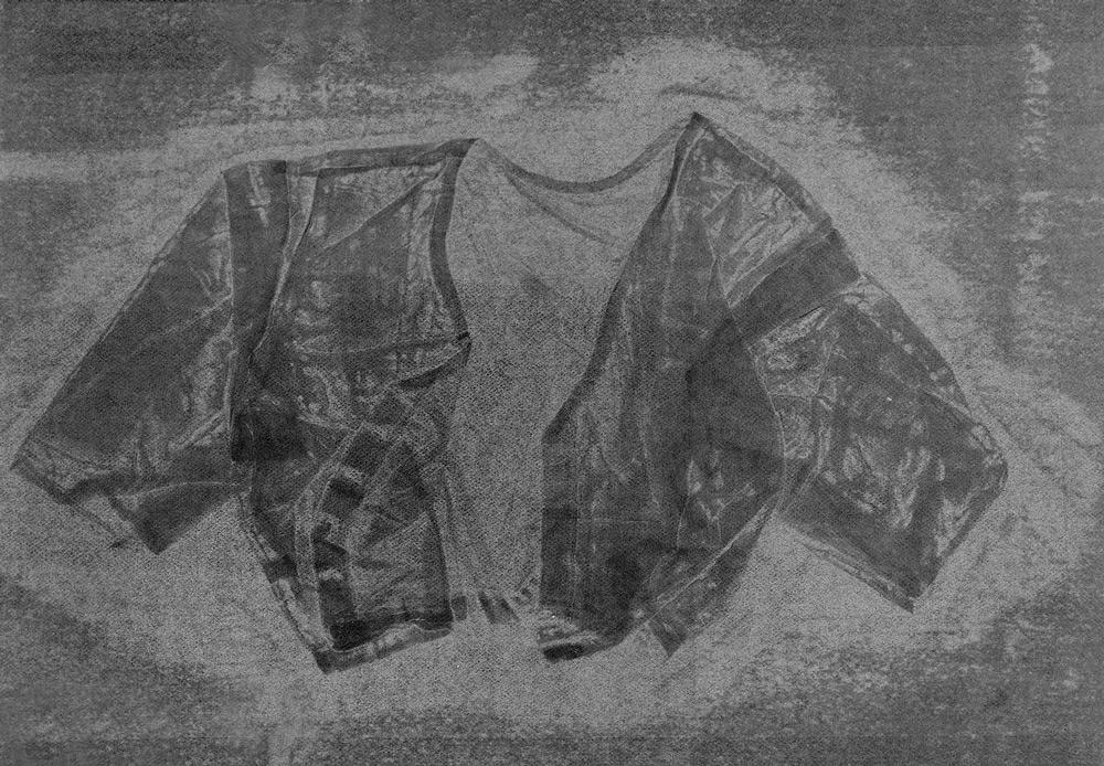 Blouse VI , 2016, relief monoprint, offset ink on Canson Black Mie Tints Pastel Noir 160gsm, 50.4 x 65 cm
