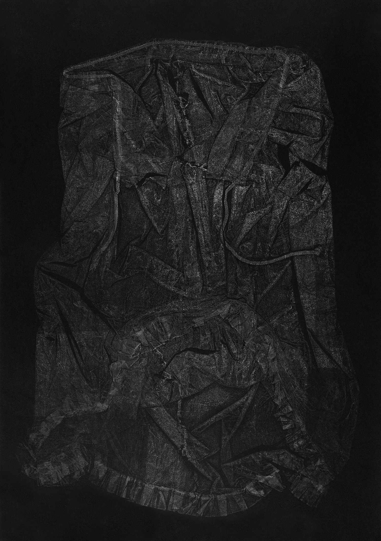 Petticoat III , 2016, relief monoprint, offset ink on Velin Arches Black, 113 x 76.5 cm