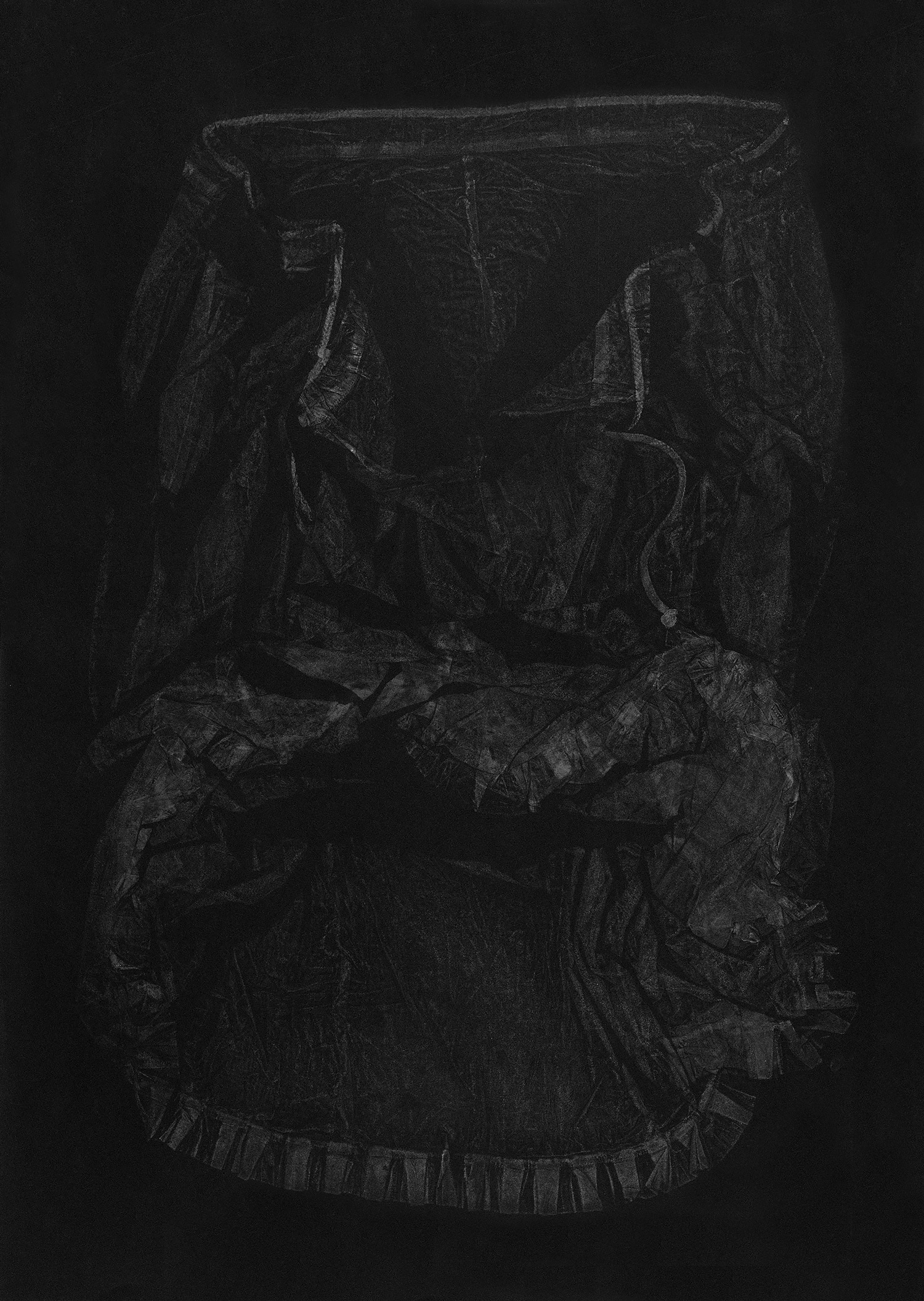Petticoat , 2016, relief monoprint, offset ink on Velin Arches Black, 113 x 76.5 cm