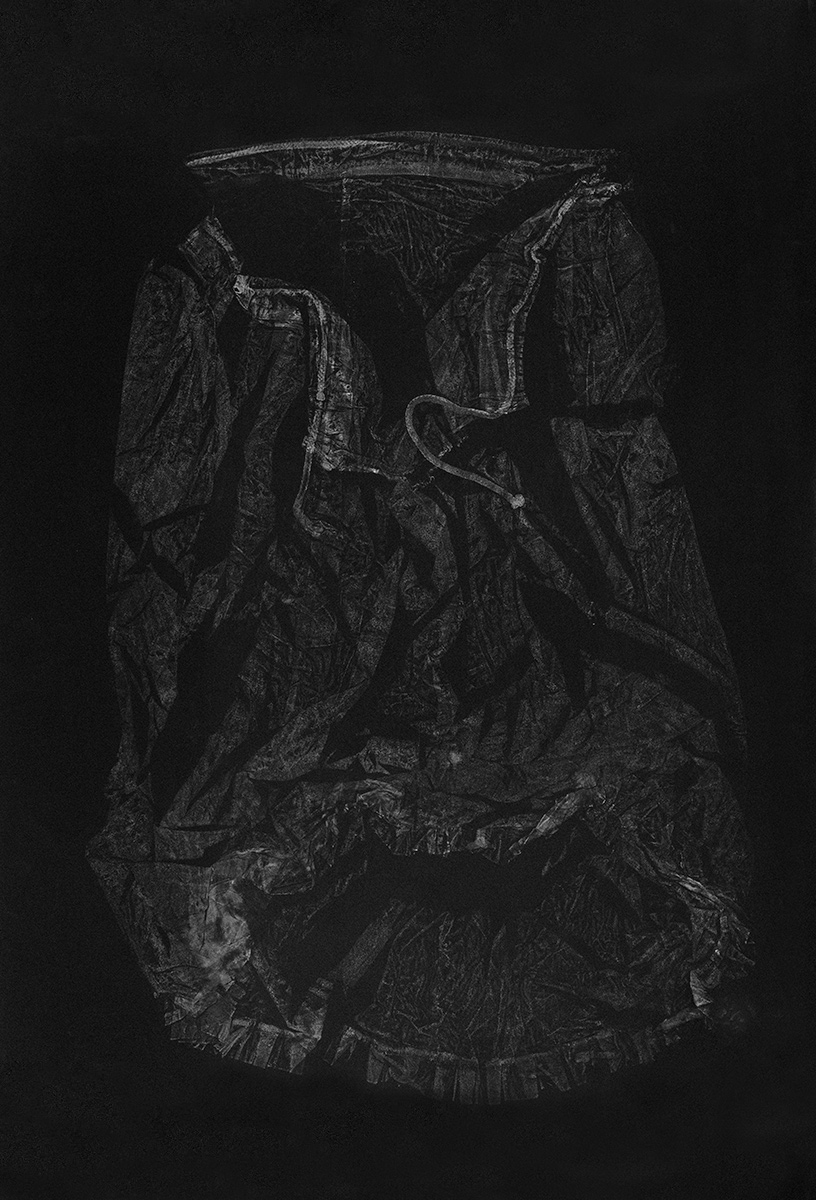 Petticoat II , 2016, relief monoprint, offset ink on Velin Arches Black, 113 x 76.5 cm