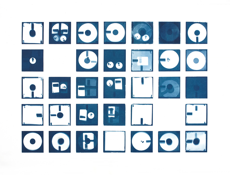 Diskette I , 2016, cyanotype, 76 x 110 cm