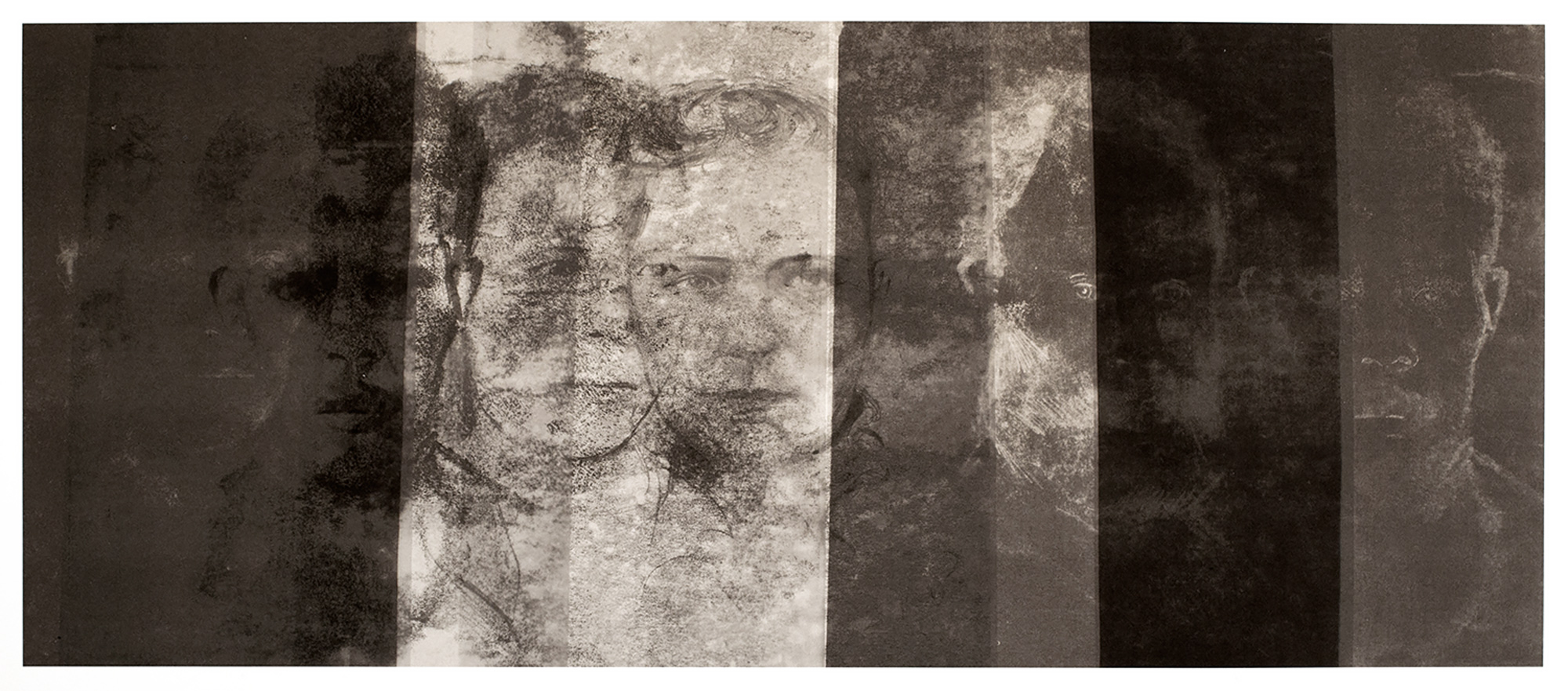 Prisoners of Darlinghurst Gaol, 2015, monoprint on rag paper, 42 x 76 cm