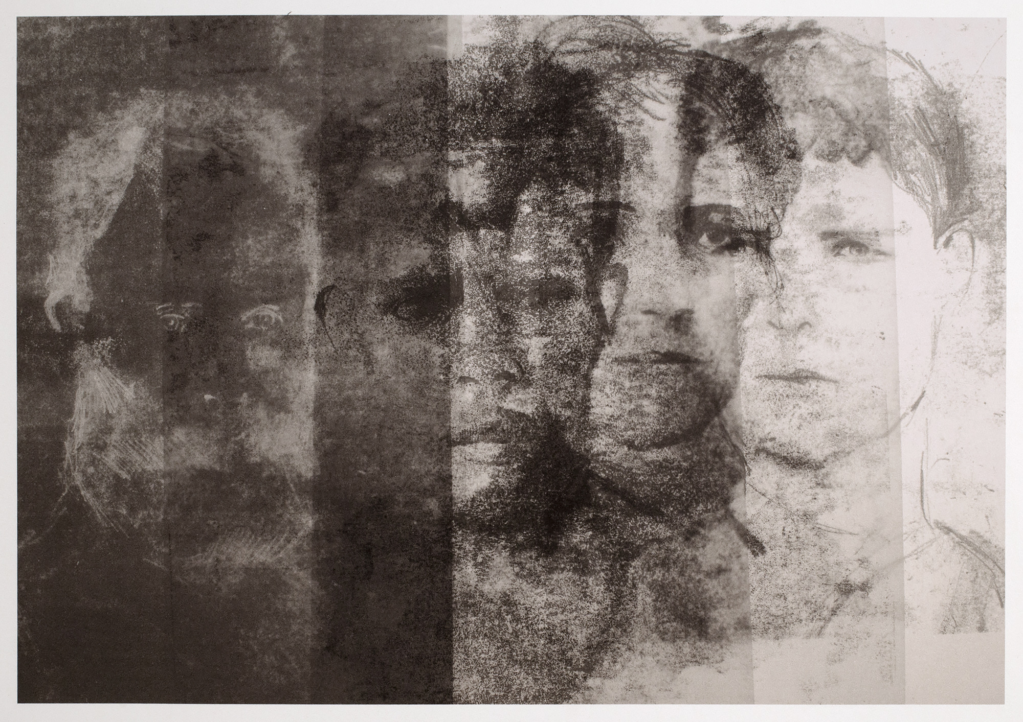 Prisoners of Darlinghurst Gaol, 2015, monoprint on rag paper, 35 x 50 cm