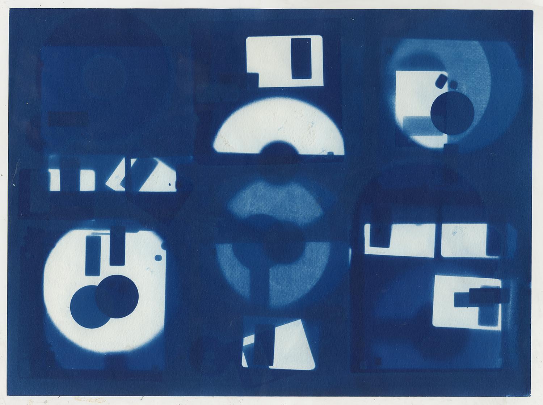 Diskette  (study I), 2016, cyanotype, 24 x 32 cm