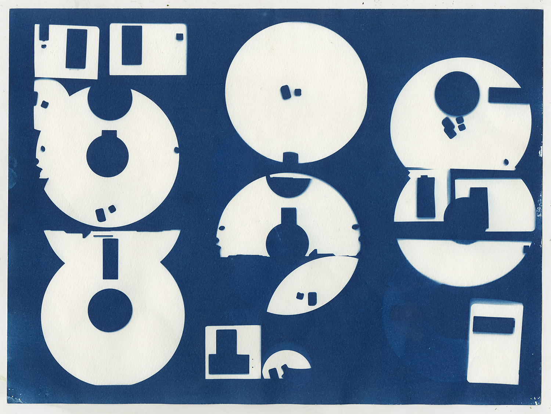 Diskette  (study IV), 2016, cyanotype, 24 x 32 cm
