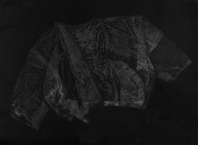Blouse III , 2016, relief monoprint, offset ink on Canson Black Mie Tints Pastel Noir 160gsm, 50.4 x 65 cm