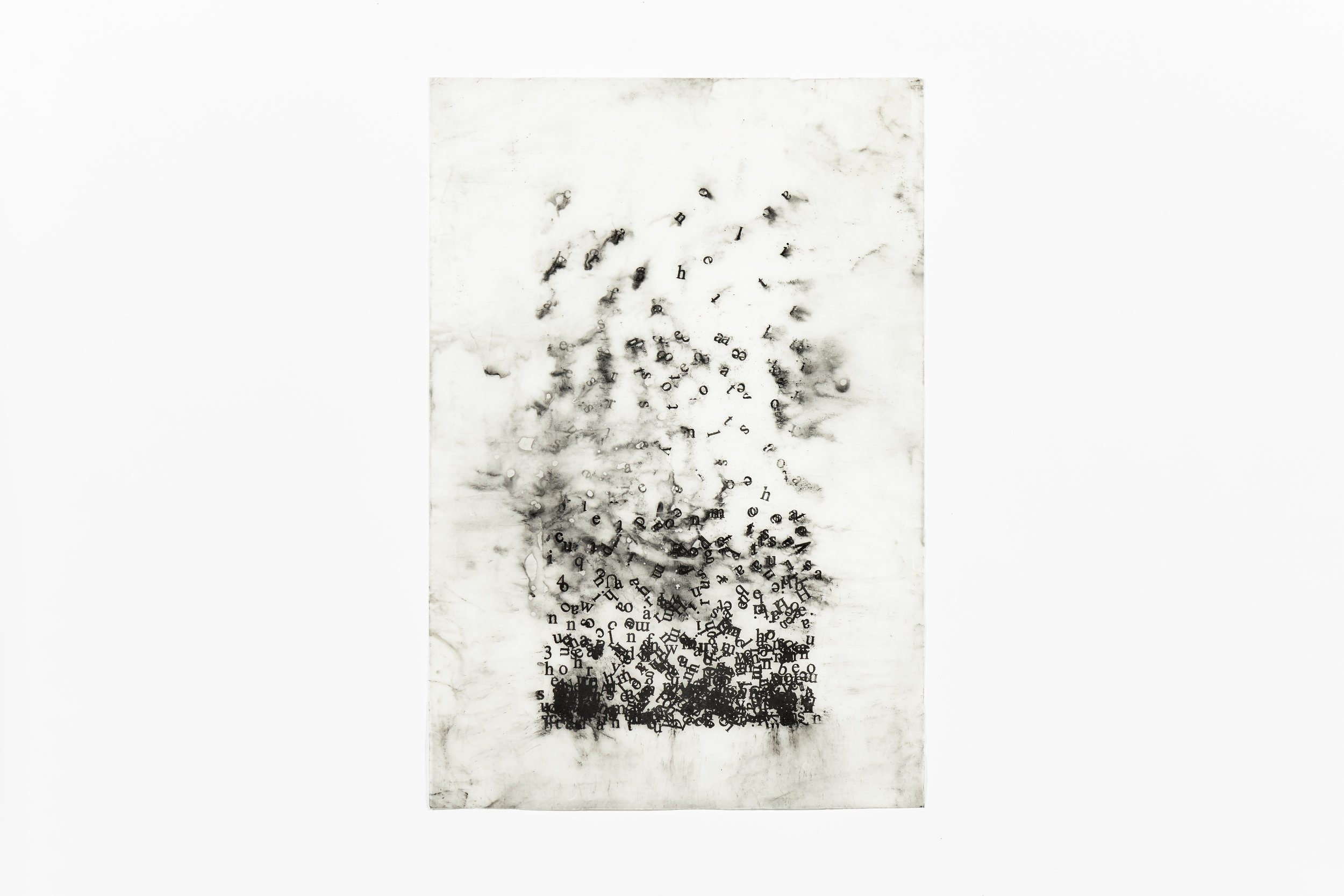 5 , 2017, silkscreened pigment on waxed Japanese rice paper, 94 x 64 cm