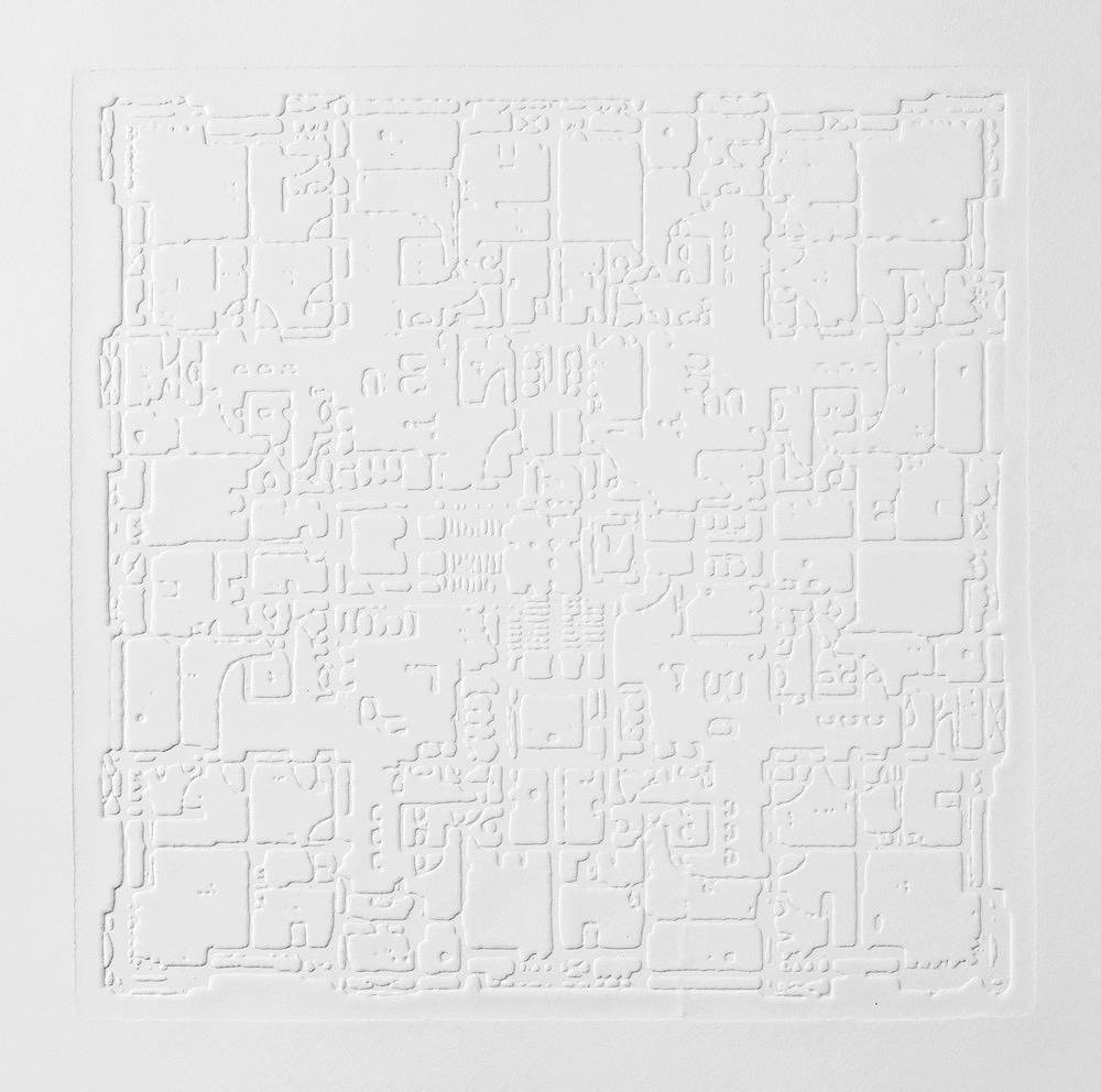 Groundwork II , 2016, zinc embossing on Hahnemuhle paper, 25 x 25 cm