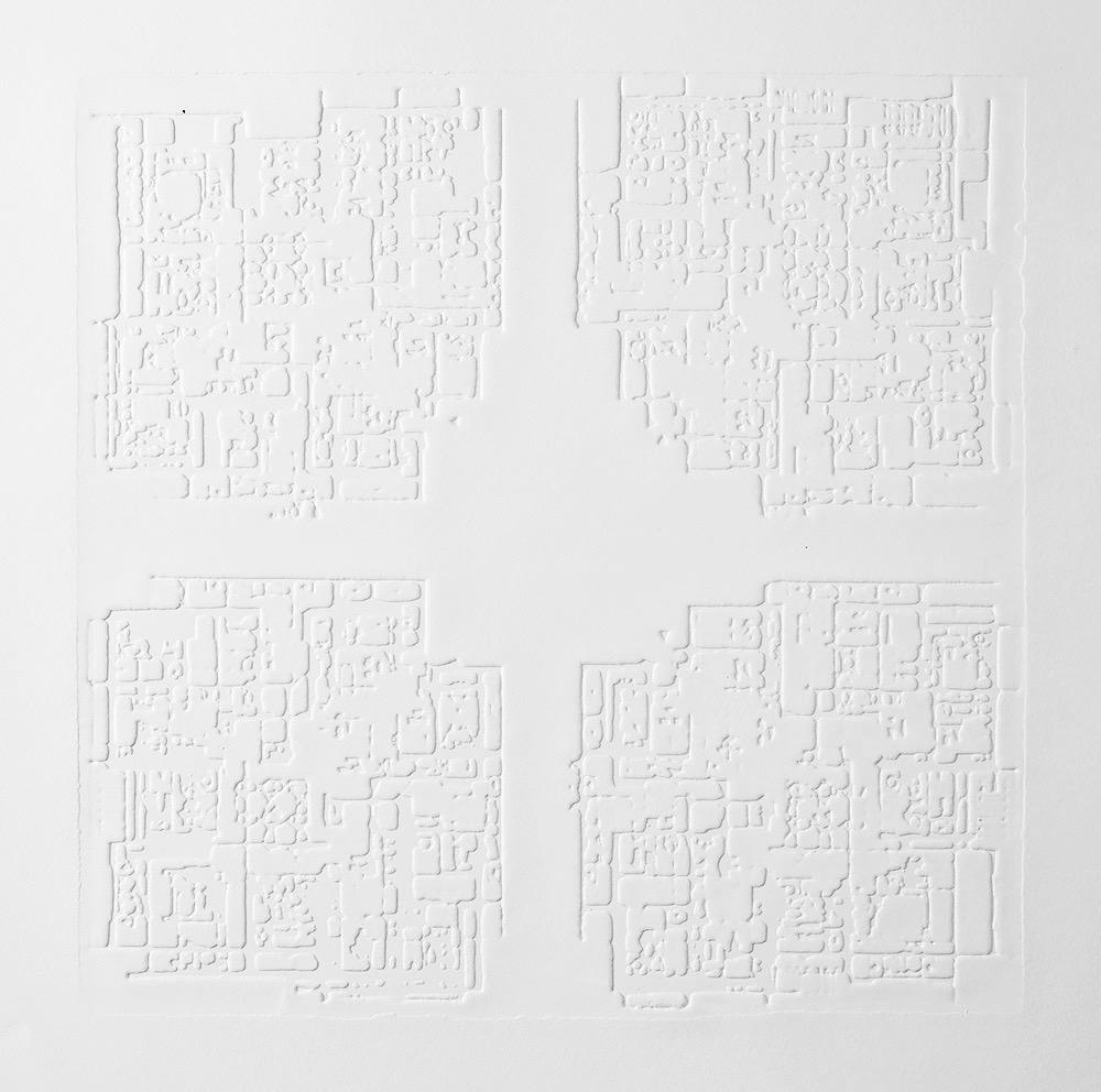 Groundwork I , 2016, zinc embossing on Hahnemuhle paper, 25 x 25 cm